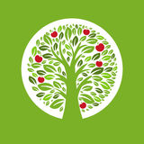Illustration of apple tree in the circle. Vector Stock Images