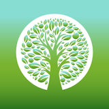 Illustration of apple tree in the circle. Vector stock illustration