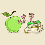 Illustration with apple worm and bookworm. Cartoon comic illustration with apple worm and bookworm vector illustration