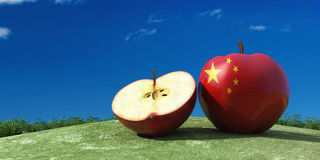 illustration of apples in the field Royalty Free Stock Image