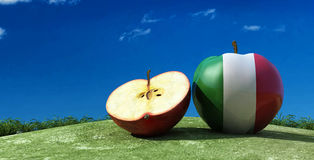 illustration of apples in the field Stock Photos