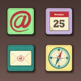 Illustration of apps icon set in textile styles Royalty Free Stock Photography