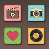Illustration of apps icon set in textile styles Stock Images