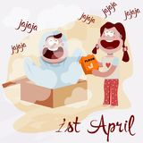 Illustration of April fool`s day,first April. Illustration of April fool`s day with kids,first April Stock Photography