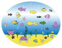 Illustration with aquarium Stock Images