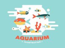 Illustration aquarium with fish, flat style Stock Image