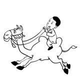 Illustration of a boy riding Camel Cartoon - Vector Hand drawn. Illustration of Arab boy riding Camel, Cartoon style - Vector Hand drawn Royalty Free Stock Photos