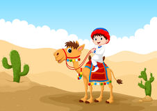 Illustration of Arab boy riding a camel in the desert. Vector illustration of Arab boy riding a camel in the desert Royalty Free Stock Photo