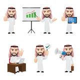 Set of Arabic Businessman Character in 6 Different Poses. Illustration of arabic businessman in 6 different poses. High resolution JPG, PNG transparent Stock Photo
