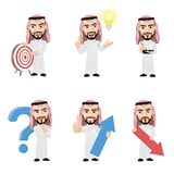 Set of Arabian Man Character in 6 Different Poses. Illustration of arabic businessman in 6 different poses. High resolution JPG, PNG transparent background and Royalty Free Stock Photo
