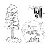Illustration, arbres illustration stock