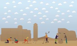Illustration archéologique de vecteur de concept d'excavation dans le style plat Photos stock