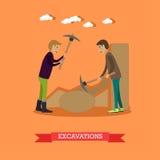 Illustration archéologique de vecteur de concept d'excavations dans le style plat Image libre de droits