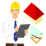 Illustration of Architect or engineer with clipboard  isolated Royalty Free Stock Image