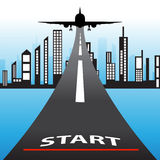 Illustration of architectural building with flying airplane and word start concept. Stock Photo