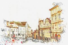 Illustration Architecture antique traditionnelle à Prague Illustration Libre de Droits