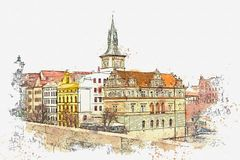 Illustration Architecture antique traditionnelle à Prague Illustration Stock