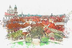 Illustration Architecture antique traditionnelle à Prague Illustration de Vecteur