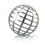Illustration argentée de l'icône 3d de globe Image libre de droits