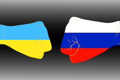Illustration of arms. Illustration of two arms-flags Ukraine and Russia Stock Photo