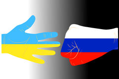 Illustration of arms. Illustration of two arms-flags Ukraine and Russia Royalty Free Stock Photography