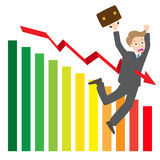 Illustration of arrow wave statistics on chart kill businessman  Royalty Free Stock Photo