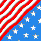 Illustration art American Flag for Independence Day. Vector design for card and greeting. Patriotic banner Stock Image