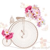 Illustration with art bicycle and flowers in vintage style. Bicycle with basket fully of  flowers and butterflies around it Royalty Free Stock Photos