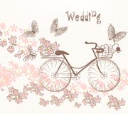 Illustration with art bicycle and flowers in vintage style. Cute vector invitation with fake bicycle and flowers Royalty Free Stock Photo