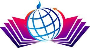 Book and globe logo stock illustration