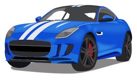 Bright Blue Sports Car. Illustration art of bright blue racing type sports car, isolated on white background royalty free illustration