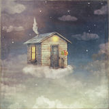Illustration art of a cartoon small house on a cloud in sky Royalty Free Stock Image