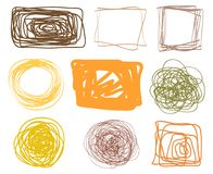 Illustration. Art creation. Chaotic geometric frames. Colored abstract tangled borders. Hand drawn dinamic scrawls. Multicolored illustration. Backgrounds with royalty free illustration