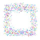 Illustration. Art creation. Colorful square shape. Multicolored confetti in rectangle shape on white. Colored pattern for design. Holiday background with stock illustration