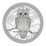 Illustration. Art creation. Owl. Mandala with cute bird. Zentangle. Hand drawn abstract patterns on isolation background. Design for spiritual relaxation for Royalty Free Stock Photo