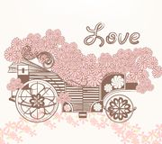 Illustration with art fake carriage and flowers in vintage style Stock Photo