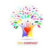 Family tree love colorful logo vector royalty free illustration