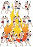 Muay Thai martial art illustration set 02 Royalty Free Stock Photo