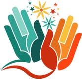 Hand flower logo royalty free stock image