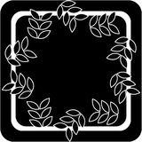 Illustration art of a leaf and square shape logo with isolated background. Floral ink shape with room to add your own text or logo royalty free illustration
