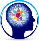 Power brain floral logo vector illustration