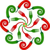Red and green chili logo royalty free illustration