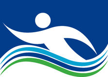 Swimming logo. Illustration art of a Swimming logo with isolated background Stock Image