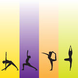 Illustration art of yoga with colorful vertical stripes screen. Yellow purple orange green. Yoga poses in black. EPS available Stock Photos