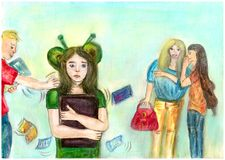 Persecution at school. Illustration for the article about teenagers and school. Mockery of another. Harassment of another person. Children scoff at the weak Royalty Free Stock Photo