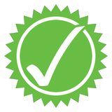 Approved and OK. Illustration of an artistic mark signifying approval, acceptance  and OK with green circle (star) containing a large white tick, white Stock Photography