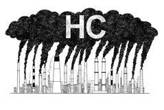 Illustration artistique de dessin de vecteur des cheminées de tabagisme, concept d'industrie ou pollution atmosphérique de l'usin illustration libre de droits