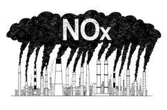 Illustration artistique de dessin de vecteur des cheminées de tabagisme, concept d'industrie ou pollution atmosphérique de NOx d' illustration libre de droits