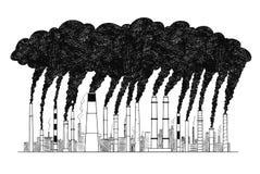 Illustration artistique de dessin de vecteur des cheminées de tabagisme, concept d'industrie ou pollution atmosphérique d'usine illustration stock