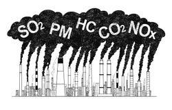 Illustration artistique de dessin de vecteur des cheminées de tabagisme, concept d'industrie ou pollution atmosphérique d'usine illustration libre de droits